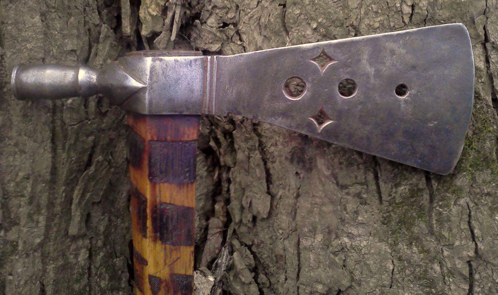File Branded Pierced Pipe Tomahawk Head