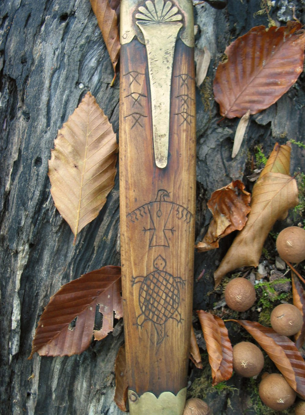 Octagonal Wooden Handled Dagger Wooden Sheath Totems