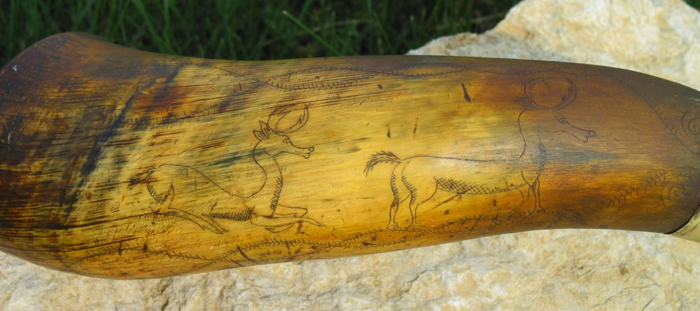 Indian Trade Horn Scrimshaw