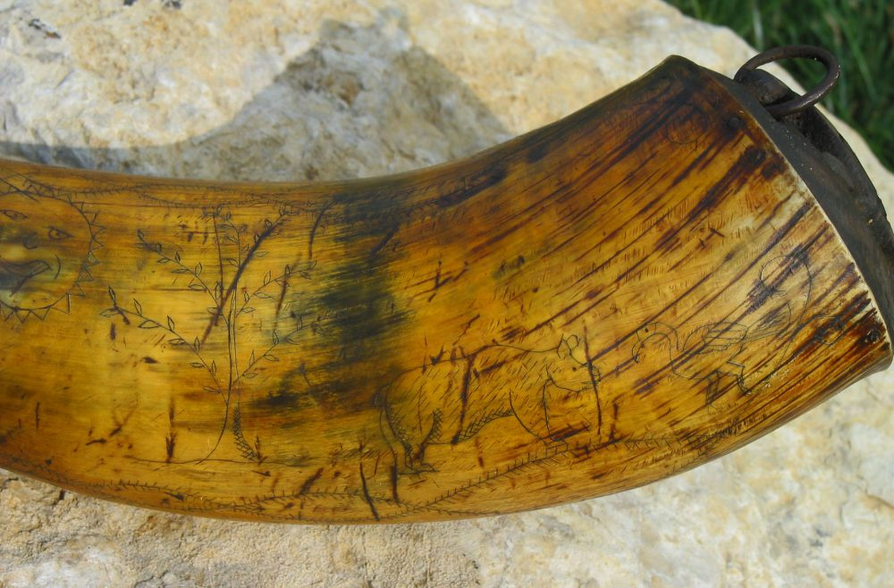 Indian Trade Horn scrimshaw 1