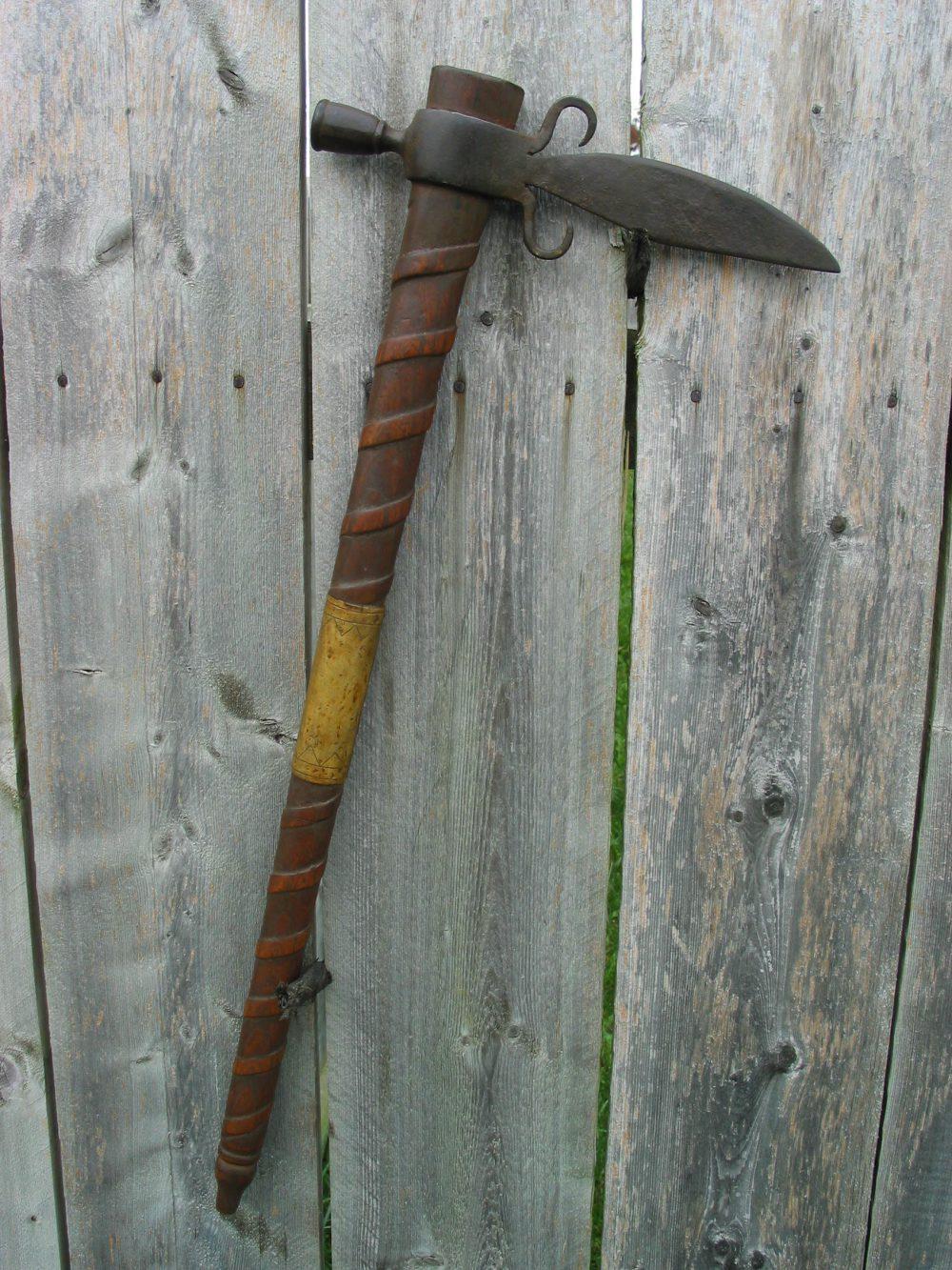 Knife Bladed Spontoon Pipe Axe Full